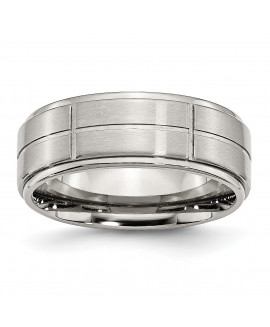 Stainless Steel Grooved 8mm Brushed/Polished Ridged Edge Band