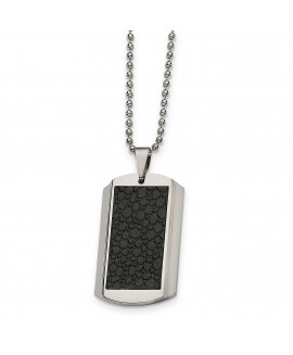 Stainless Steel Stingray Patterned Dog Tag 24in Necklace