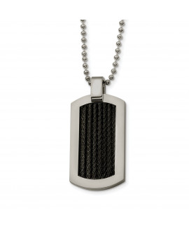 Stainless Steel Black Plated Cable Dog Tag 24in Necklace