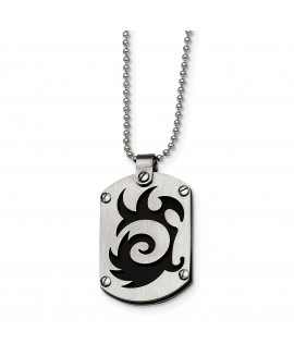 Stainless Steel Black IP-plated Swirl Dog Tag Necklace