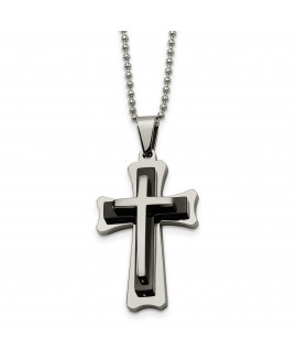 Stainless Steel Black Acrylic & Polished Cross Necklace