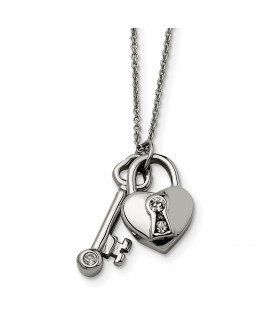 Stainless Steel Heart Lock & Key withCZ with 2inch ext Necklace