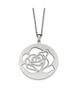 Stainless Steel Rose Cutout Pendant Necklace