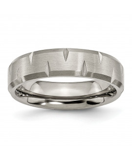 Titanium Beveled Edge Notched 6mm Brushed Band