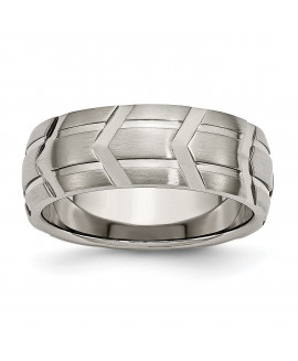 Titanium 8mm Brushed and Polished Band
