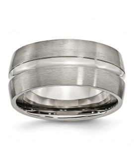 Titanium Grooved 10mm Brushed and Polished Band