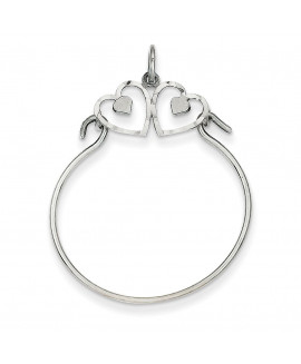 14k White Gold Heart Charm Holder