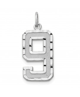 14kw Casted Large Diamond Cut Number 9 Charm