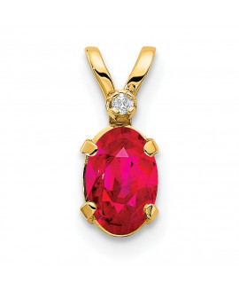 14k Diamond & Ruby Birthstone Pendant