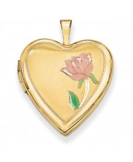 14K 20mm Enamel Rose Heart Locket