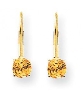14k 5mm Citrine Leverback Earrings