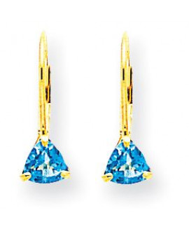 14k 5mm Trillion Blue Topaz Leverback Earrings