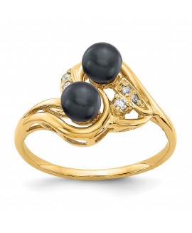 14k 4.5mm Black FW Cultured Pearl AAA Diamond ring