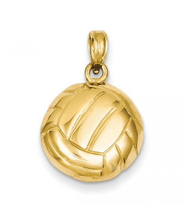 14k Polished Open-Backed Volleyball Pendant