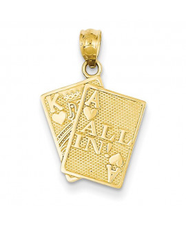 14k Ace of Hearts & King of Hearts All In! Cards Pendant