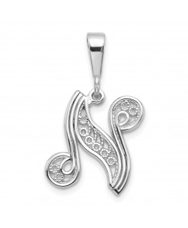 14k White Gold Solid Polished Filigree Initial N Pendant