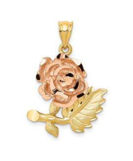 14k Two-Tone Solid Satin Diamond-cut Flower Pendant