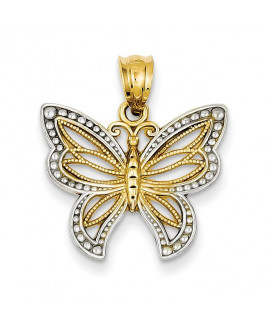 14k & Rhodium Polished Filigree Butterfly Pendant