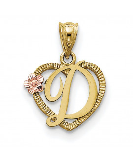 14k Two-Tone Initial D in Heart Charm