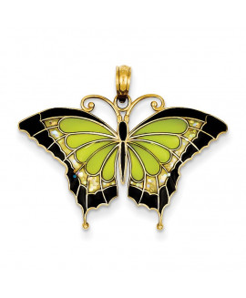 14K Green Stained Glass Wings Butterfly Pendant with Acrylic