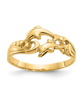 14K Double Dolphins with Waves Ring