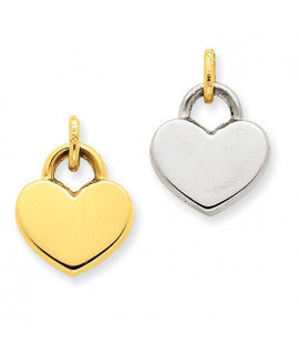 14k & Rhodium Hollow Polished Reversible Heart Charm