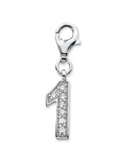 Sterling Silver CZ Numeral 1 w/Lobster Clasp Charm