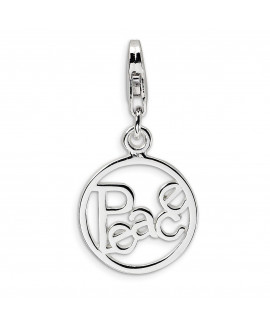 Sterling Silver Polished Peace in Circle w/Lobster Clasp Charm