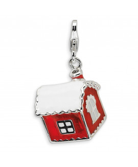 Sterling Silver 3-D Enameled House with Snow on Roof w/Lobster Clasp Charm