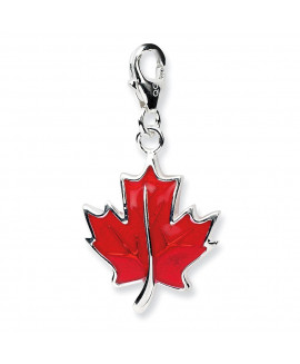 Sterling Silver 3-D Enameled Maple Leafw/Lobster Clasp Charm