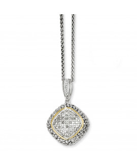 Sterling Silver w/14k 1/10ct. Diamond 18in Necklace