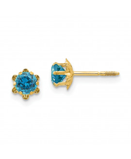 14k Madi K 4mm Synthetic Blue Topaz (Dec) Screwback Earrings