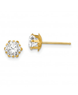 14k Madi K 5mm Synthetic (Apr) Earrings