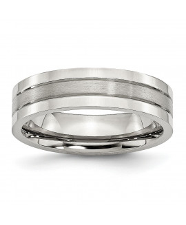 Stainless Steel Grooved 6mm Satin and Polished Band