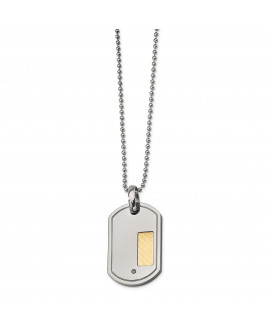 Stainless Steel 18k Gold Plating with .01ct. Diamond 24in Necklace