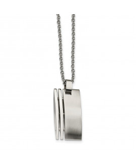 Stainless Steel Brushed Pendant 22in Necklace