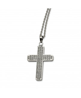 Stainless Steel CZs Cross Pendant 22in Necklace
