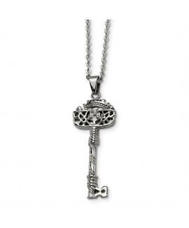 Stainless Steel Fancy Key Pendant Necklace
