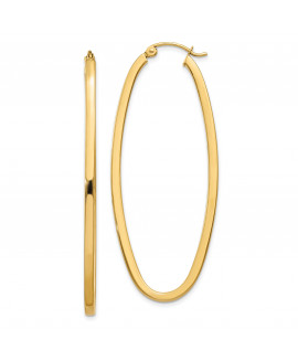 14k 2mm Large Oval Hoop Earrings
