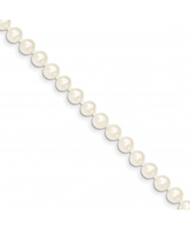 14k 5-6mm White FW Cultured Near Round Pearl Necklace