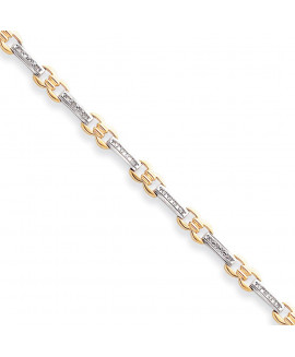 14k Two-Tone A Quality Completed Fancy Diamond Tennis Bracelet