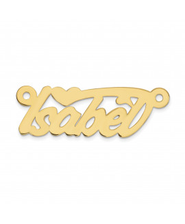 14K .013 Gauge Polished Name Plate with Heart Pendant
