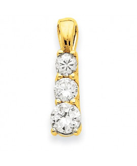 14k 3-Stone .95ct Diamond Pendant Mounting