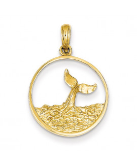 14k Whale Tail in Circle with Waves Pendant