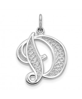 14k White Gold Solid Polished Filigree Initial D Pendant