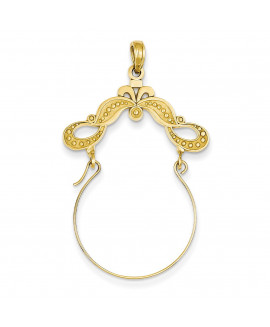 14k Polished Ribbon Decorated Charm Holder