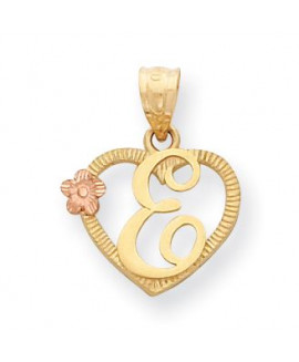 14k Two-Tone Initial E in Heart Charm