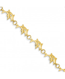14k 8in Solid Polished Open-Back Double Dolphins Bracelet