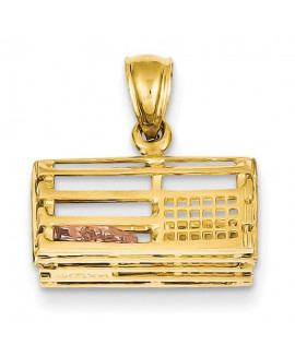 14k Two-Tone Polished 3-Dimensional Lobster Trap Pendant