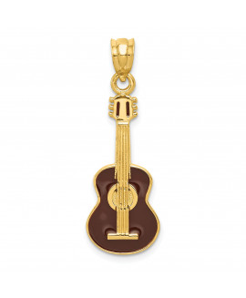 14k Enameled Guitar Pendant